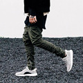 Pie haz pantalones Casual Slim Fit Dos Hip Hop basculador puede abrir del basculador de la cremallera pie haz pantalones