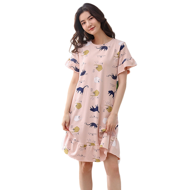 31b922253 Long Cute Sleepwear Plus Size Cotton Summer Sleeping Wear Pijama Ropa  Interior Lingerie Dress Camisa Dormir Sleep Clothes VY37