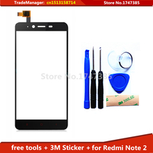 tools+3M adhesive Original for Xiaomi Redmi Note2 Hongmi Note 2 Touch Screen Front Glass Panel Digitizer Assembly Replacement