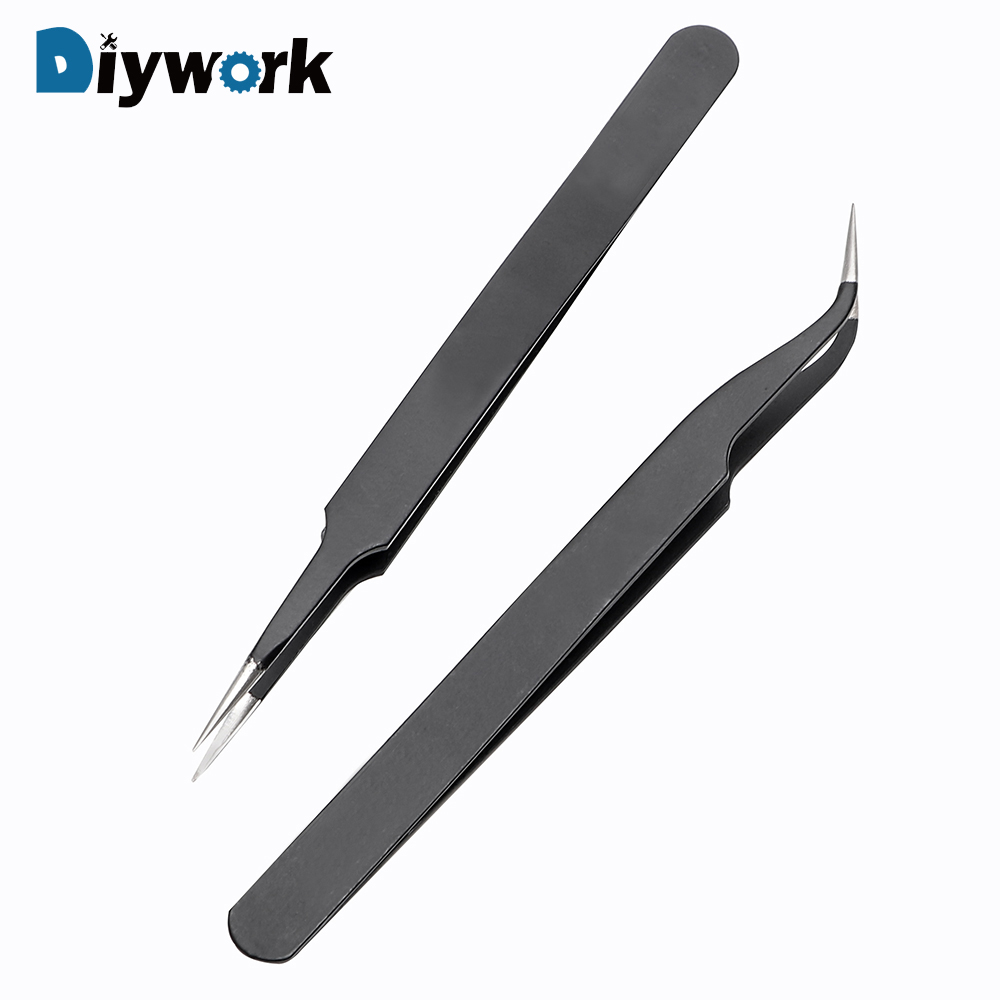 DIYWORK ESD-14 ESD-15 Anti-static Curved Straight Tip Forceps Precision Soldering Tweezers Set Electronic ESD Tweezers Tool
