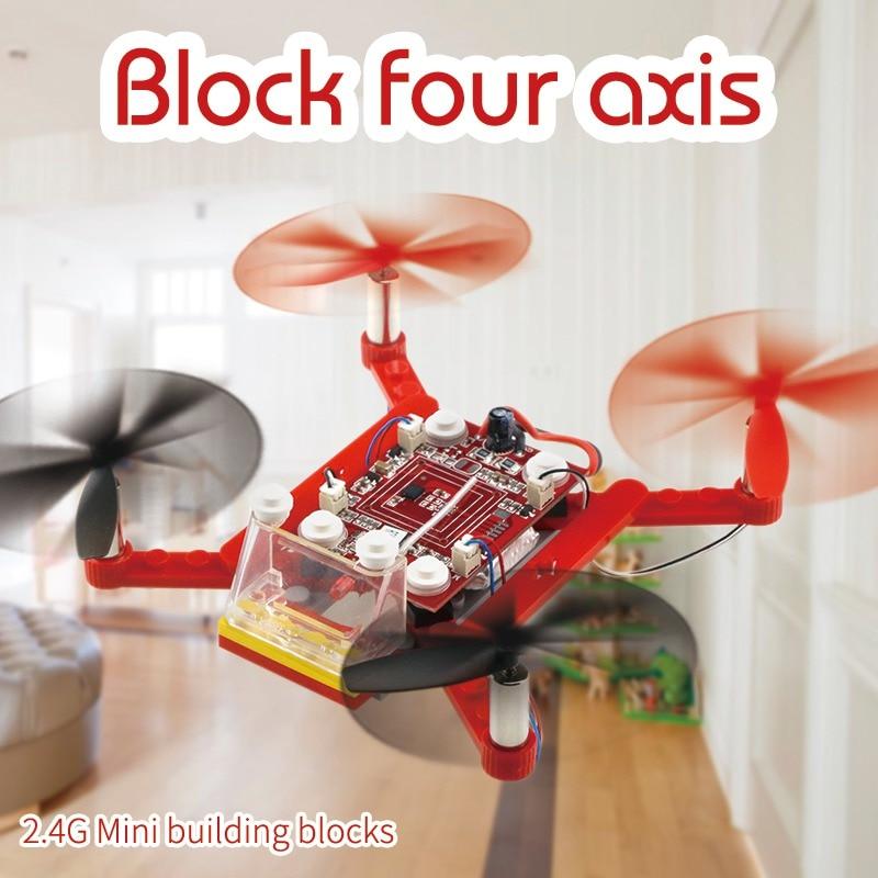 Building Block Drone Mini дроны 3D DIY Кирпичи RC Quadcopter DIY Игрушечные лошадки для детей собраны Конструкторы развивающие игрушки