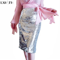 LXMSTH Silvery Sequin Skirt Women 2019 Spring Summer Street Style Sexy Ladies Sequins Skirt Elastic Waist Zipper Pencil Skirts