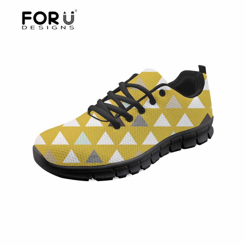 FORUDESIGNS Women's Shoes 3D Mod Mint Triangles Printing Breathable Mesh Platform Sneakers Female Flats Ladies Shoes Girls 2018