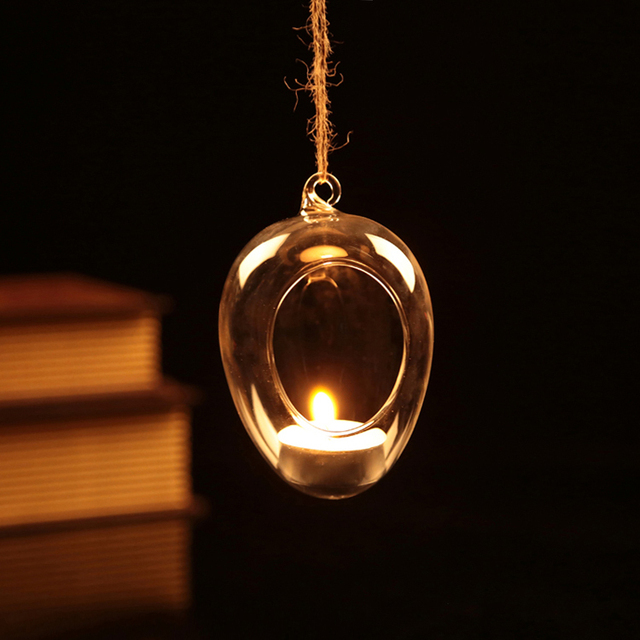 2015 New ! Clear Glass Baule candle holders Egg shape candlestick Hanging egg bauble Party  Wedding Home Decor