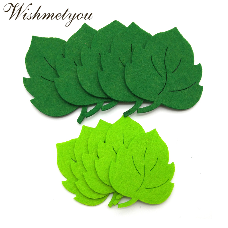 WISHMETYOU 10pcs Leaf Felt Green Tree Leaves Patch Appliques For Diy Kindergarten Wall Diy Crafts Non-Woven Accessories New Felt