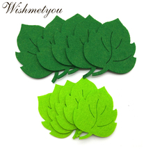 WISHMETYOU 10pcs Leaf Felt Green Tree Leaves Patch Appliques For Diy Kindergarten Wall Crafts Non-Woven Accessories New