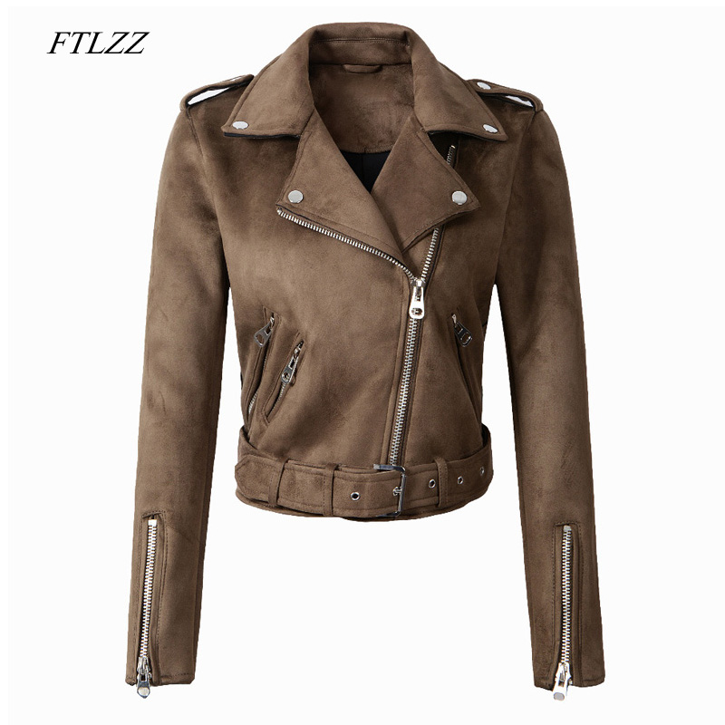 FTLZZ Women Faux   Suede   Jacket Coats Motorcycle Zipper Turndown Collar Faux Soft   Leather   Overcoat Female Black Punk Short Jacket
