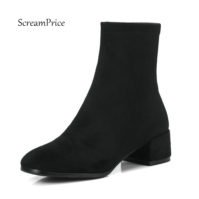 Warm Winter Comfortable Square Heel With Side Zipper Ankle Boots Fashion Round Toe Women Suede Shoes Black Gray winter round toe buckle platform ankle boots fashion side zipper party woman boots square heel shoes black brown