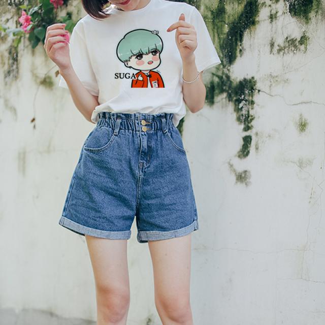 BTS Cartoon Face Printed Casual T-shirts