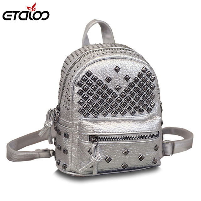 7bbfa287c1e7 2018 new Korean fashion bag leather shoulder bag rivets children Mini  Backpack tidal range