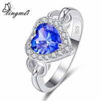 lingmei New Heart Cut Blue & Green White CZ Silver Color Ring Size 6 7 8 9 Gorgeous Perfect Elaborate Lovers' Jewelry Wholesale