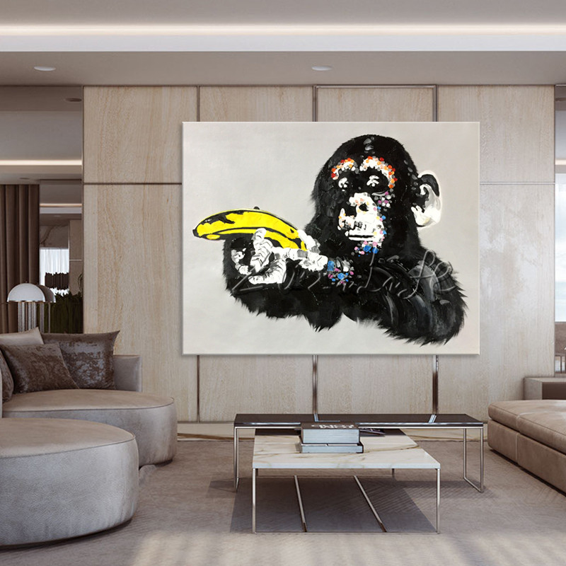 Canvas painting pop art Animal acrylic painting the monkey hand with banana Wall art Pictures For Living Room home decor caudros