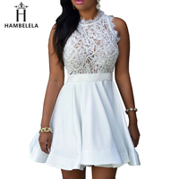 HAMBELELA Elegant Black White Lace Spring Summer Dress Sleeveless Turtleneck Women Dresses 2017 Short Party Casual