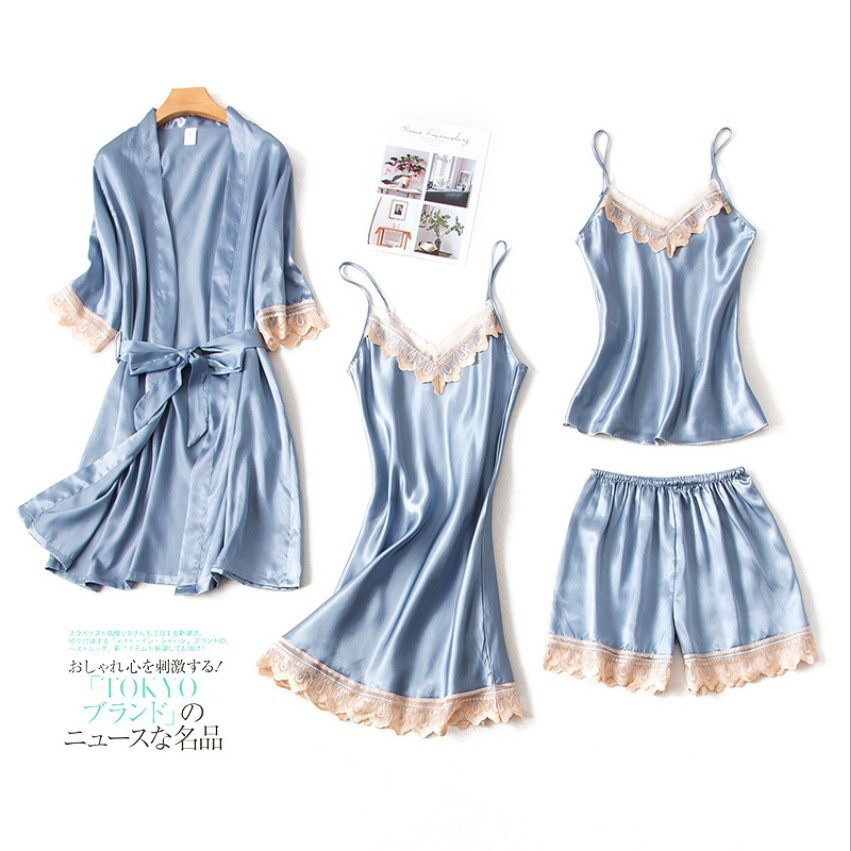 4 Piece Pj   Set   Sexy Women   Pajamas     Sets   Women Faux Silk Pyjama Lace Sling Sleeveless Shirt Shorts Summer Robe Sleepwear Nightwear
