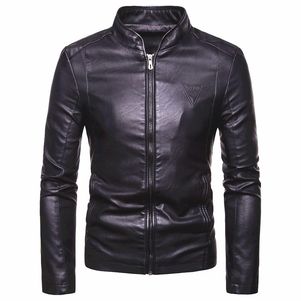 X-Future Men Warm Faux Pu Leather Outwear Stand Collar Quilted Down Jacket Coat