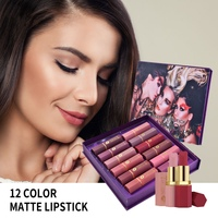 12pcs/lot lip kit matte Lipstick Waterproof Nutritious Velvet Lip Stick Red Tint Nude batom Makeup Set 2019 Y1