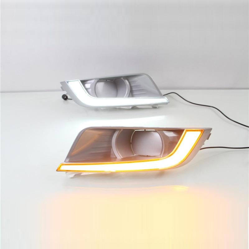 Новый автомобиль дневные ходовые свет комплект для Форд рейнджер 2015-16, белый свет, желтый поворотник, круглое отверстие ,супер яркий 12V