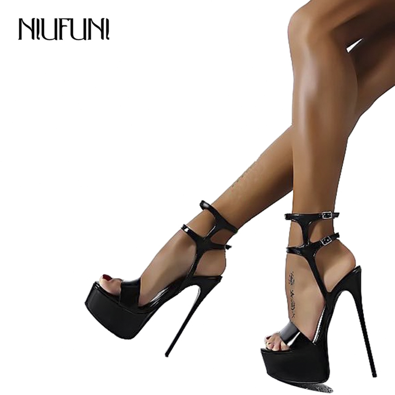 Big Size 34-46 Ultra High Heels Sandals Women Shoes Platform Nightclub Sexy Ladies Sandals Open Toe Ankle Strap Party Sandals high heels