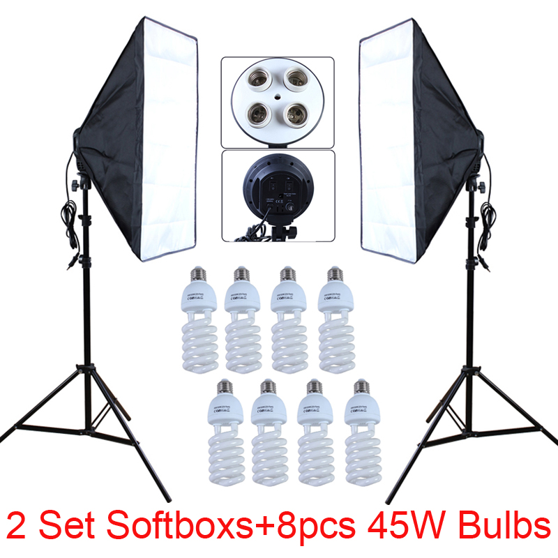 Photo Studio Diffuser 2Pcs Softbox 4-Lamp-Holder Socket With 50*70cm Continuous Lighting Include Light Stand With 45W Bulbs