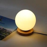 כדור זכוכית מנורות שולחן עץ פשוט Creative לילה אור חם אורות דקורטיבית בבית, מנורת שולחן ליד מיטת חדר השינה ZA