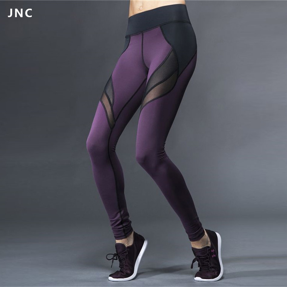 JNC Mesh Patchwork Breathable Fitness Leggings Quick Dry Elastic Yoga Pants Women Cool Sport Leggings Workout Running Tights contrast camo mesh insert leggings