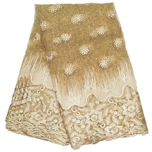 african net lace fabrics women dress gold color shiny fabric french with beads 5 yards