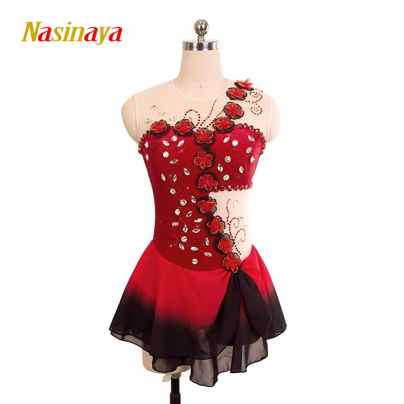 Customized Costume Ice Skating Figure Skating Dress Rhythmic Gymnastics Red Flower Adult Girl Show Skirt Performance Competition vik max adult kids dark blue leather figure skate shoes with aluminium alloy frame and stainless steel ice blade