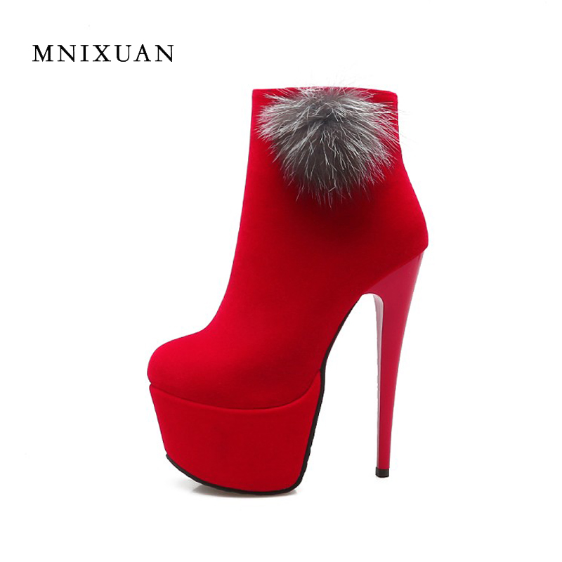 <font><b>Sexy</b></font> nightclub <font><b>extreme</b></font> thin <font><b>high</b></font> <font><b>heels</b></font> 16cm women <font><b>boots</b></font> <font><b>fetish</b></font> platforms 2017 new autumn round toe bridal wedding shoe big size image