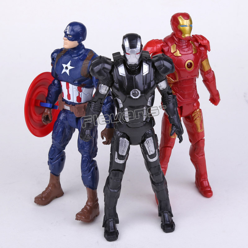 Avengers Civil War Iron Man Captain America Iron Patriot PVC Action Figures Toys 16cm 3pcs/set captain america civil war iron man 618 q version 10cm nendoroid pvc action figures model collectible toys