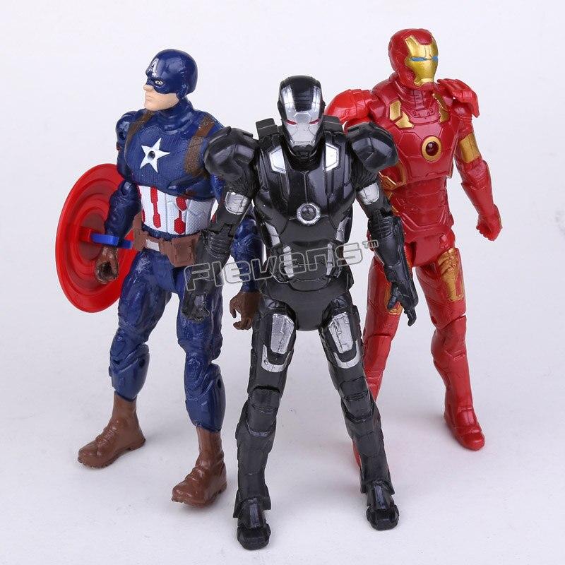 ФОТО marvel avengers civil war iron man captain america iron patriot pvc action figures toys 16cm 3pcs/set
