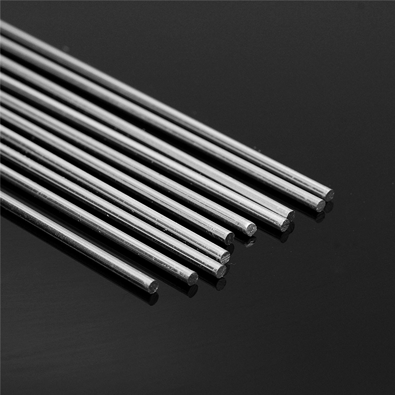 10pcs 2.4mmx450mm Welding Rod Low Temperature Metal Soldering Brazing Wire Solder TIG Filler Rods Silver Aluminum Alloy