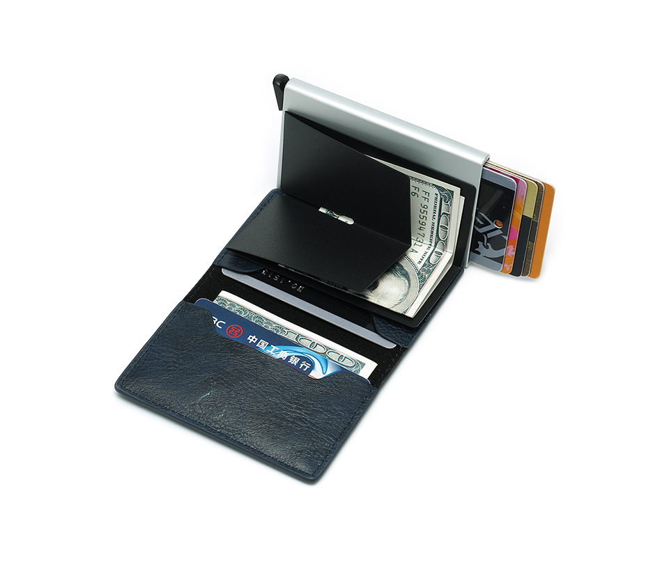 Mens Small Slim Leather Wallets Rfid Card Holder 56