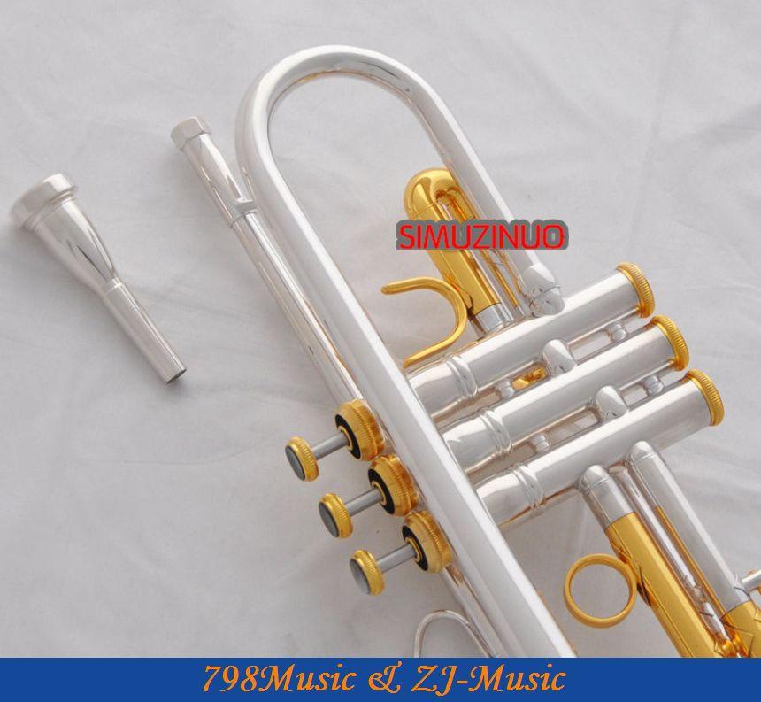 Professzionális ezüst aranyozott trombita Monel B-lapos fekete héj - Hangszerek - Fénykép 4