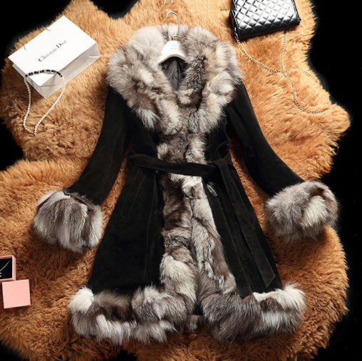 Women Long Genuine Leather Coat With Real Fox Fur Collar Suede Fur Genuine Leather Jacket Slim Belt Female Winter Pig Leather