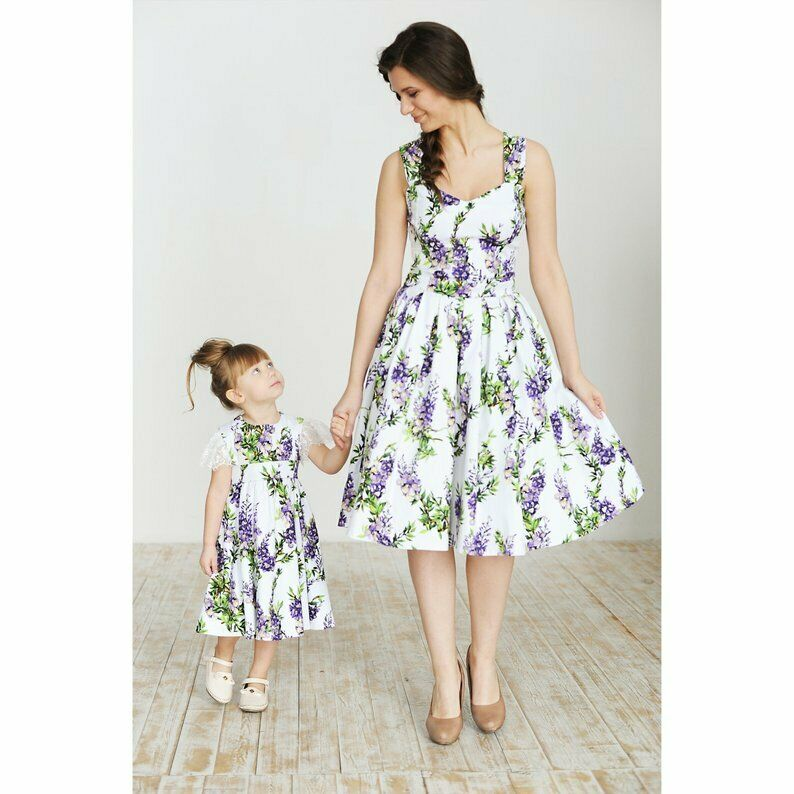 Mommy and Me Family Matching Dress Mother Daughter Floral Holiday Summer Dresses