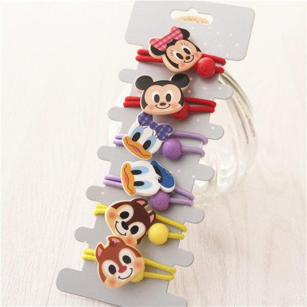6 PCS New Lovely Cartoon Mouse Duck Elastic Hair Bands Baby Headwear Girls Hair Accessories Tie Hair Ropes Children Headdress