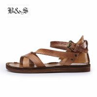 Black&Street High End Vintage Luxury Handmade Personalized Roma Sandals Buckle Strap Gladiator Leisure Top Cow Leather Sandal
