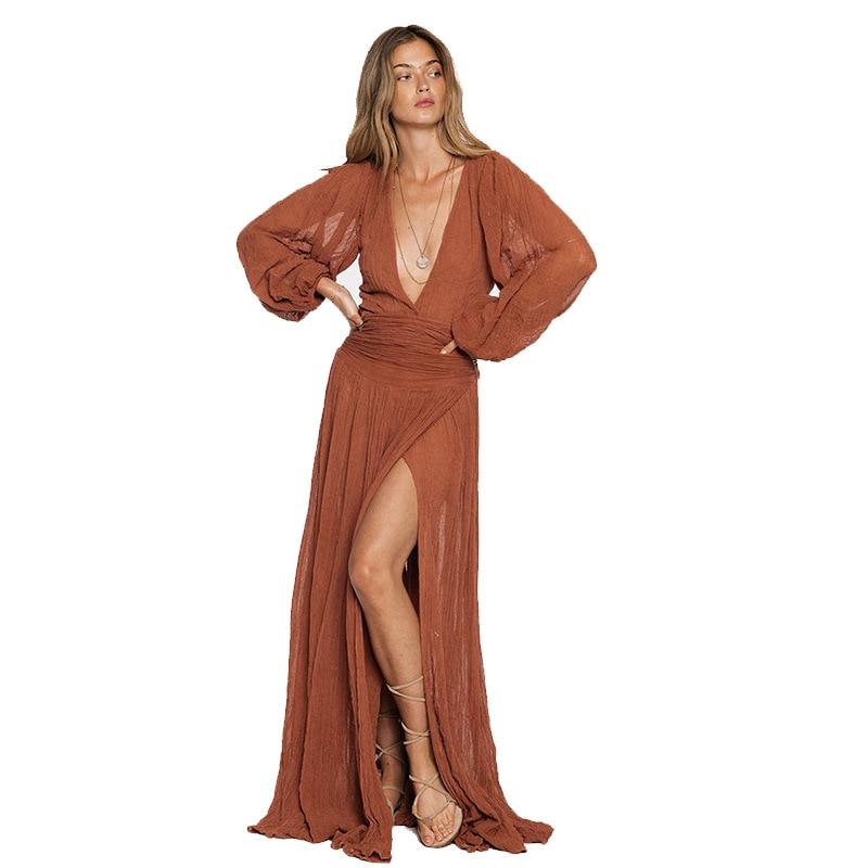 Women's Cotton Dress Solid Color V-neck Lantern Sleeve Maxi Sweet Dress High Waist Summer Elegant Split Dress Beach Boho Robes