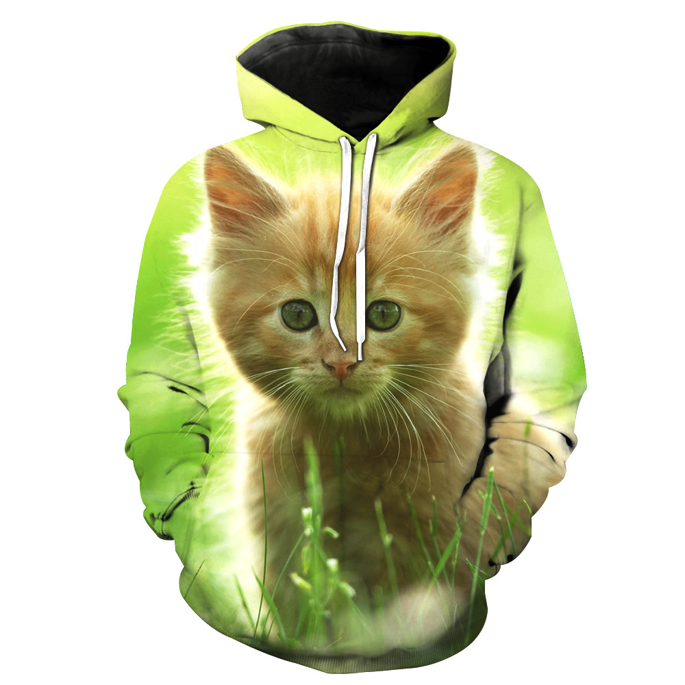 Dykhmily Lovely Cat Animal Style 3d Print Men's Hoodie Sweatshirt Fashion Streetwear Green Mens Hoodies And Sweatshirts 3d Print
