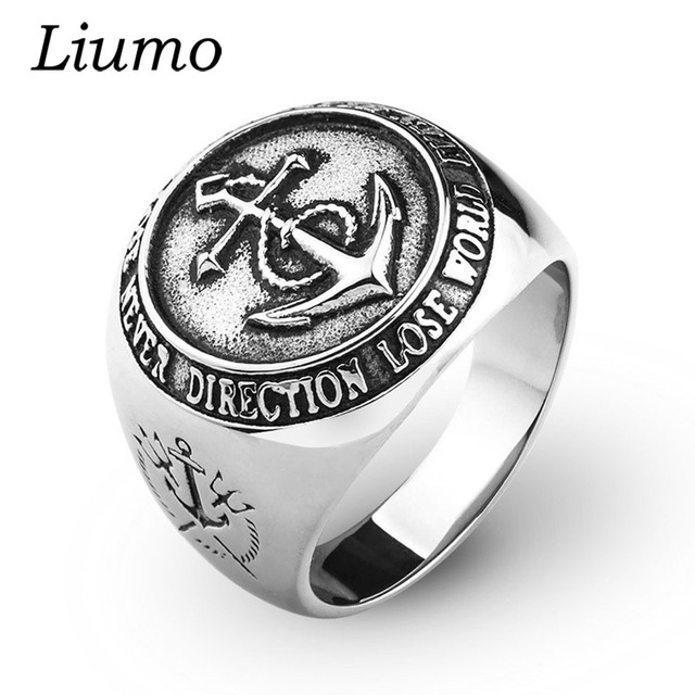 Liumo Trendy Vintage Anchor Navy Poseidon Trident Big Man Alloy Biker Ring Lr1010