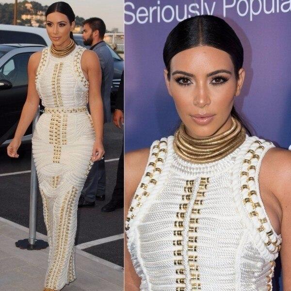 blanc Maxi De Blanc Clouté Moulante Kardashian Noir Perlée Célébrité 2018 Sexy Manches Rayonne Femmes Longue Sans Kim Noir Bandage D'été Robe ZqwnPRcC