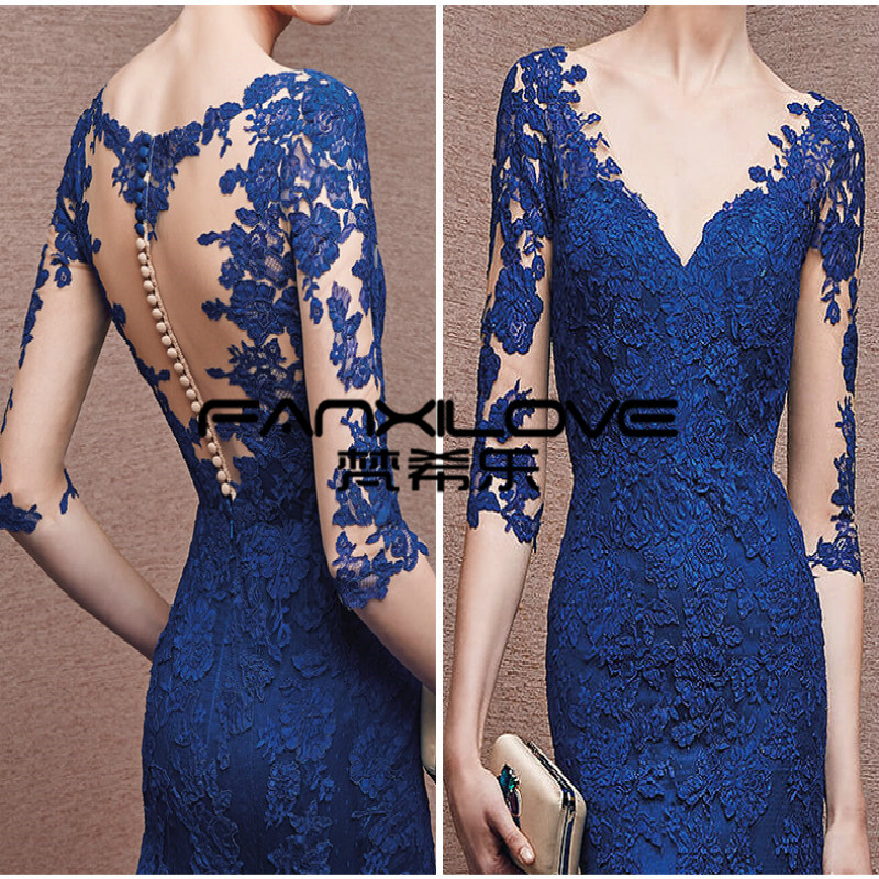Fanxilove Royal Blue Mermaid Evening Dresses 2016 V neck Sexy Apps 3 4  Sleeve Lace Formal Dresses Mother of the Bride Dresses-in Evening Dresses  from ... c158a4ae0e57