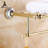 Bathroom Shelves Crystal Copper Chrome Finish Wall Shelf Gold Brass Towel Holder Towel Tack Bathroom Accessories Towel Bars 6303