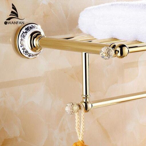 € 71.18 45% de réduction|Étagères de salle de bain cristal cuivre Chrome  finition étagère murale en laiton doré porte serviettes sèche serviettes ...