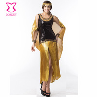 Adult Halloween Games Cosplay Gold Sequin Epyptian Cleopatra Costume Princess Queen Fancy Dress Sexy Carnival Costumes For Women