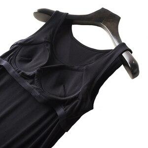 Image 5 - Womens nightgown built in prateleira sutiã chemise modal noite vestido sem mangas sólida lounge nightdress feminino roupa de dormir em casa