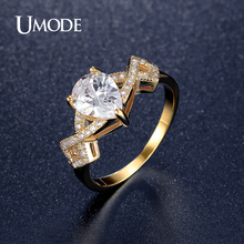 UMODE Gold Plated CZ  Brand Rings 2016 Newest Wedding Engagement Ring For Women Fashion Jewelry Bijoux Wholesale AUR0365A