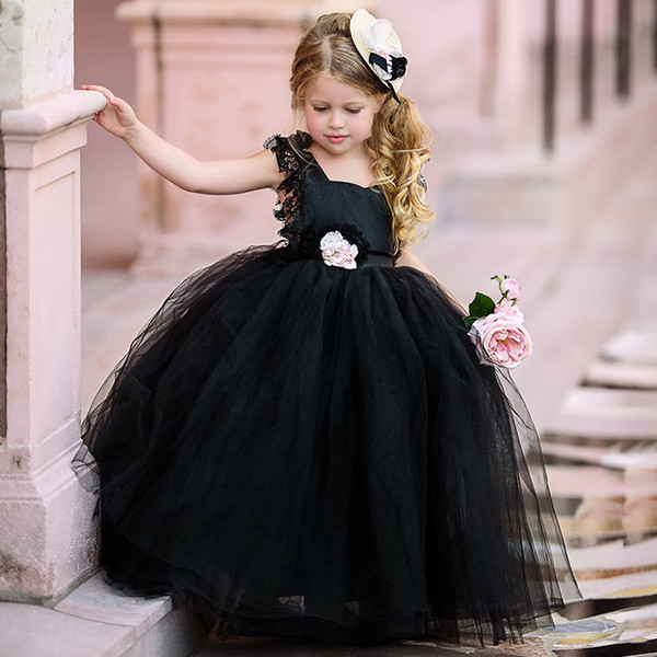 Black 2019 Ball Gown   Flower     Girls     Dresses   With   Flowers   Tulle Tutu Sleeveless Tulle Skirts Communio Backless   Girls   Pageant Gowns