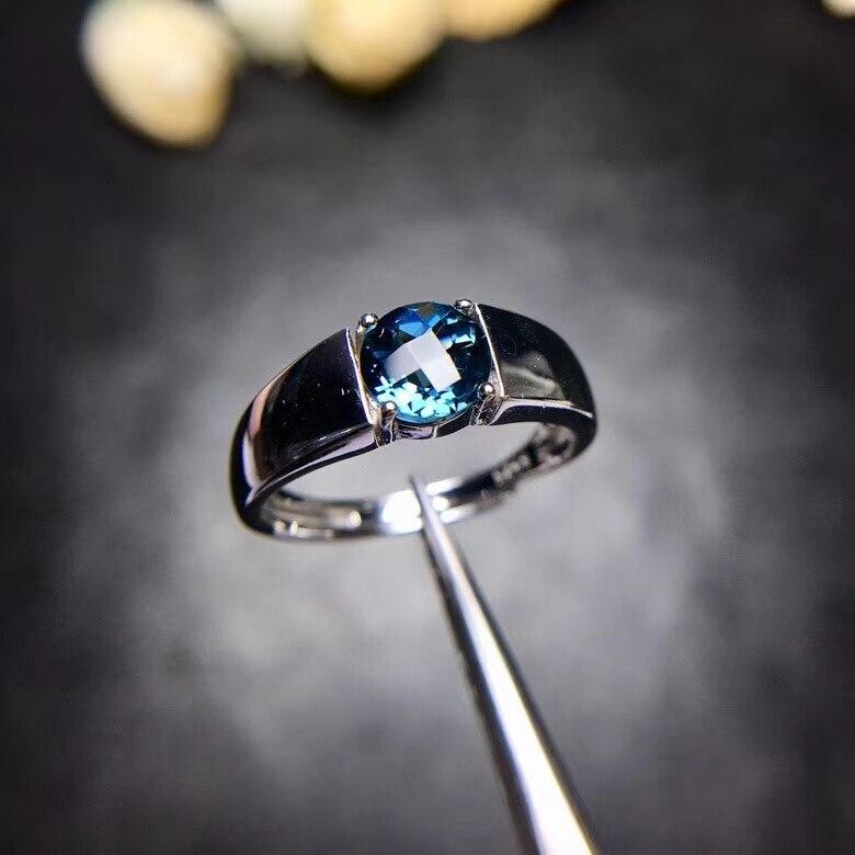 Classique lourd carré rond bref naturel bleu topaze gemme anneau S925 argent naturel pierre gemme anneau femmes hommes fête cadeau bijoux