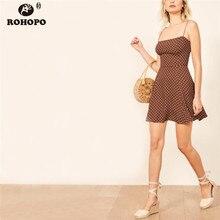 ROHOPO Summer Polk Dot Strap Mini Dress Cute Preppy Girl Vintage Pleated Chiffon Spaghetti Dresses #FD6637